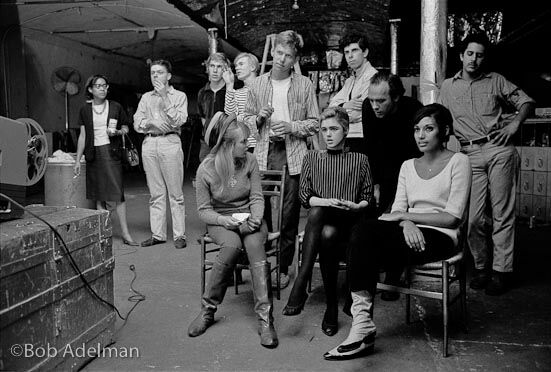 Group at Factory watching of a screening of a film. NYC, 1965